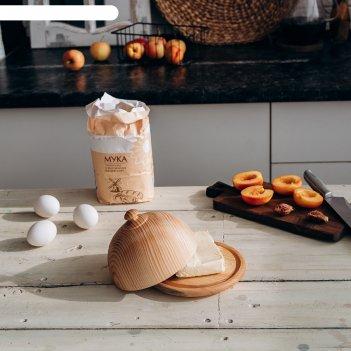 Масленка сибирский кедр, из натурального кедра, 11,5x16 см, цвет молочный