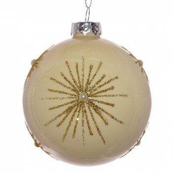 Украшение новогоднее шар золотой салют, d8 см, (б/инд.уп)