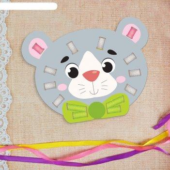 Вышивка лентами серый мишка для самых маленьких