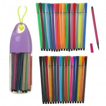 Фломастеры, 36 цветов, в пластиковом тубусе с ручкой, вентилируемый колпач