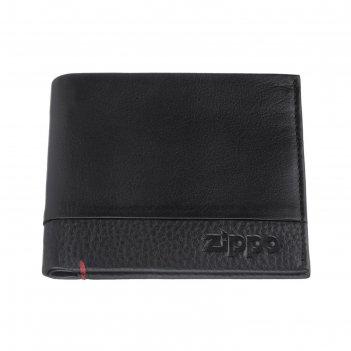 Портмоне zippo с защитой от сканирования rfid, чёрное, натуральная кожа, 1