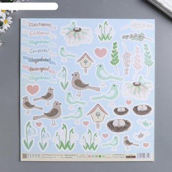 Лист бумаги для скрапбукинга картинки 30х30 см, 190 гр/м2