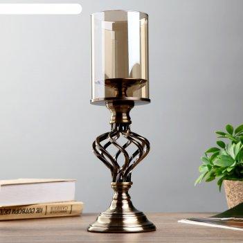 Подсвечник металл, стекло на 1 свечу водоворот латунь 37,5х11х11 см