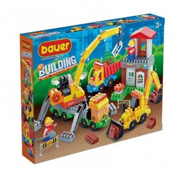 Конструктор «стройка» в наборе со строительной площадкой с автокраном, гру