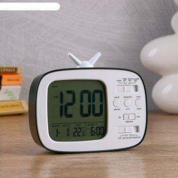 Часы электронные камбре (будильник, дата, термометр) 12x10x4.5 см