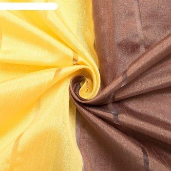 Тюль этель 200х280 см гамма коричневый (вертикальная полоса) 100% п/э