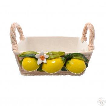 Корзина прямоугольная orgia лимоны 27 см