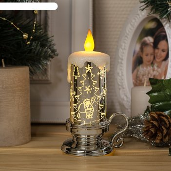 Фигура световая свеча елочка, 15х7х9 см, от батареек 3*ag01, пламя моргает