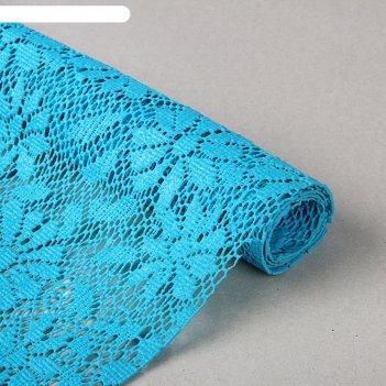 Коврик противоскользящий 30х100 см, цветы, синий