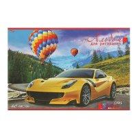 Альбом для рисования а4, 40 листов на скрепке авто и воздушные шары, облож