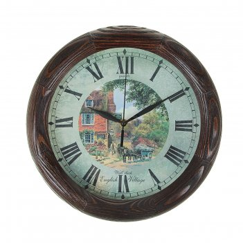 Часы настенные круглые english village, деревянные