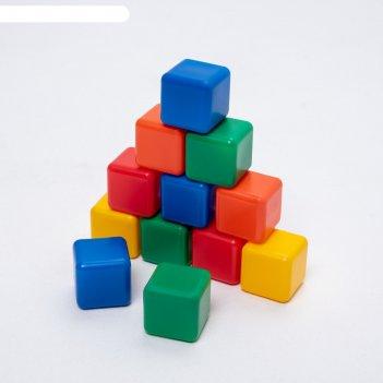 Набор цветных кубиков, 12 штук, 4 х 4 см