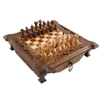 Шахматы резные в ларце с ящиками simba 40, harutyunyan