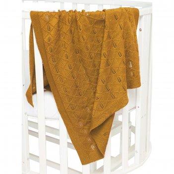 Плед вязанный pure love, размер 75 x 105 см, принт колос, горчичный