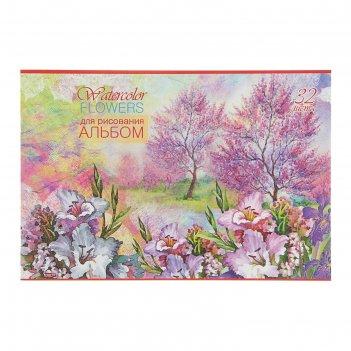 Альбом для рисования а4, 32 листа на скрепке цветы и деревья, обложка офсе