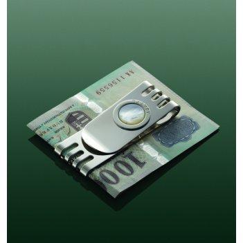 Клип для денег «соверен» с круглой перламутровой вставкой