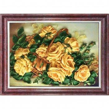 Набор для вышивки лентами «жёлтые розы»