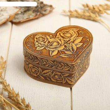 Шкатулка «розы», сердце, 10х7х4,5 см, береста