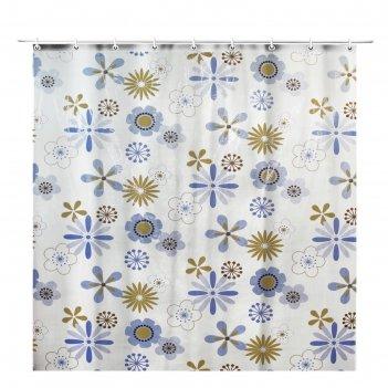 Штора для ванной 180х180 см прозрачная цветы голубые, пвх