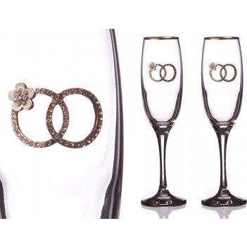 Набор бокалов для шампанского из 2 шт. с золотой каймой 170 мл. (кор=1набо