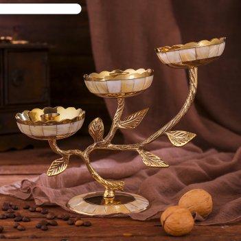 Подсвечник латунный на 3 свечи три бутона с перламутровыми вставками
