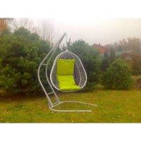 Подвесное кресло на стойке капри, белое/жёлтая