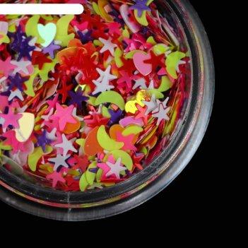 Пайетки для ногтей «ассорти», цвет розовый/красный/фиолетовый