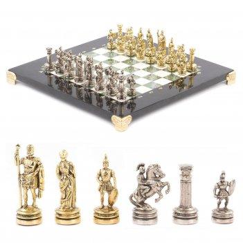 Шахматы римляне доска 280х280 мм мрамор офиокальцит металл