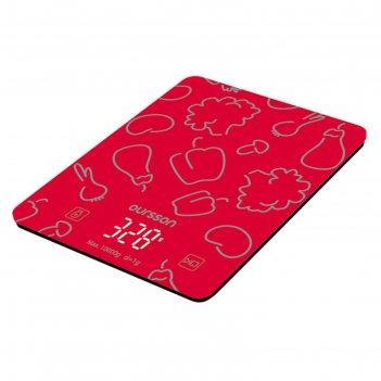 Весы кухонные oursson ks1001gd/rd, электронные, до 10 кг, 2хааа, красные