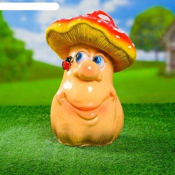 Садовая фигура гриб мухомор с божьей коровкой мультяшный