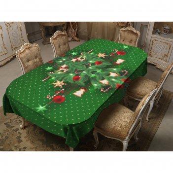 Скатерть новогодний уют 150х220 см, зелёный, габардин 100% п/э, 150гр/м2