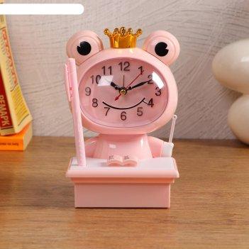 Часы-будильник детские царевна-лягушка,с подсветкой, с ручкой, 1аа, дискре