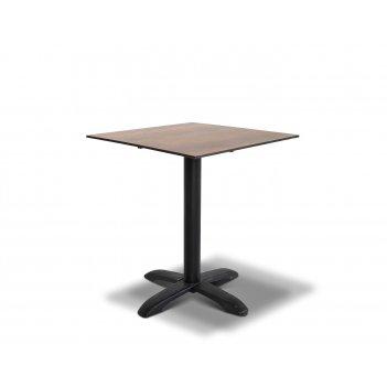 Стол каффе цвета дуб 64х64см, столешница hpl, подстолье чугун