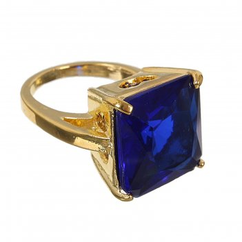 Кольцо классический мотив квадрат, цвет ярко-синий в золоте, размер 17,18,