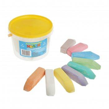 Мелки цветные для асфальта «квартет», в наборе 18 штук, квадратные, в ведё