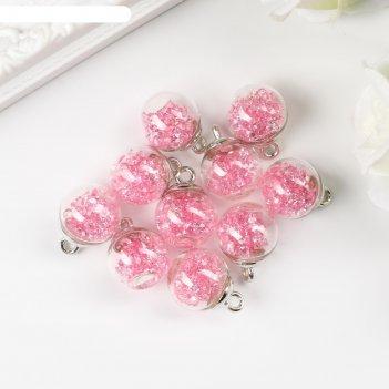 Подвеска декоративная для творчества стекло шар - камешки розовая d=1,6 см