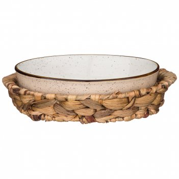 Блюдо для запекания в плетеной корзине bronco nature 26*17*6,5 см 800 мл к