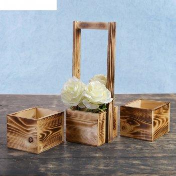 Набор из 3х кашпо, из массива сосны, 2 ящика без ручек + 1 с деревянной ру
