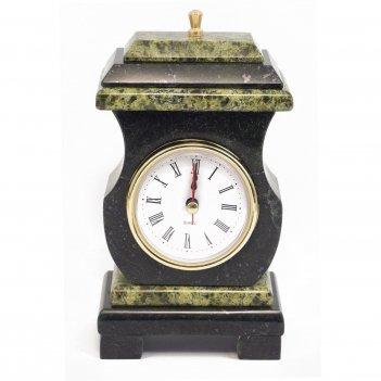 Часы со шкатулкой ретро змеевик 95х70х160 мм 1000 гр.