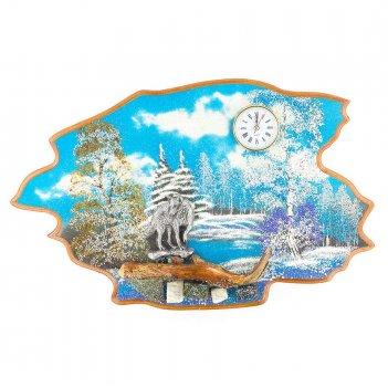 Часы с картиной волк зима 50х32 см