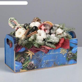 Деревянный ящик с ручками «ёлочные игрушки», 24.5 x 5 x 10 см