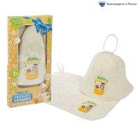 Набор банный детский мини-банщик: коврик и шапка