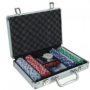 Набор для покера: 2 колоды карт 54 шт., 200 фишек с номиналом, 5 кубиков,