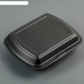 Ланчбокс одноразовый 247x206x35 мм, 1 секция, цвет чёрный