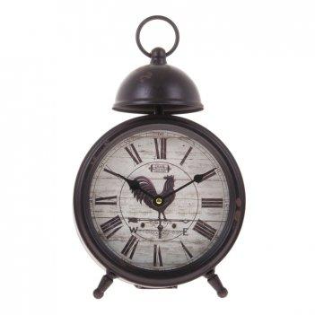 Часы настольные, серия ретро с 1 звонком d=17см, корич. патина, на цифербл