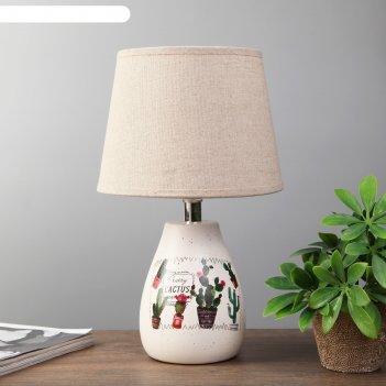 Лампа настольная кактус 1xe14 40вт белый 21х21х33 см.
