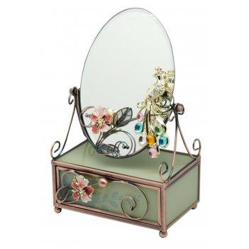 Зеркало на шкатулке jardin dete райская птица, нержавеющая сталь, стекло