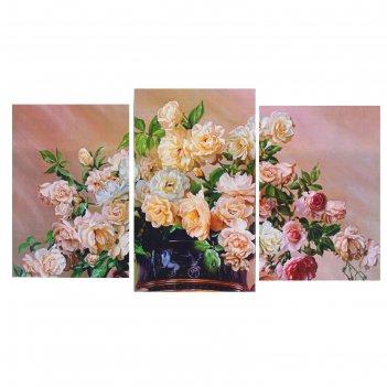 Модульная картина на подрамнике ваза с цветами, 100x53 см