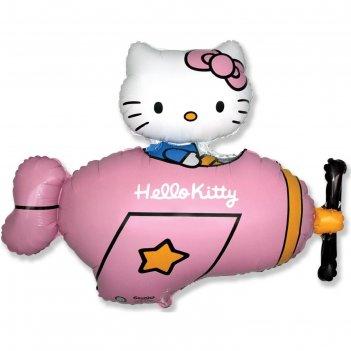 Шар фольгированный 36 фигура hello kitty. котенок в самолете розовый, 1шт.