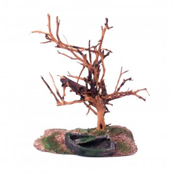Декорация fauna int дерево и лодка, 11х8х14,5см, пластик+дерево